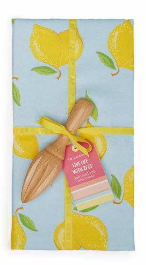 Live Life with Zest Dish Towel with Citrus Reamer Set