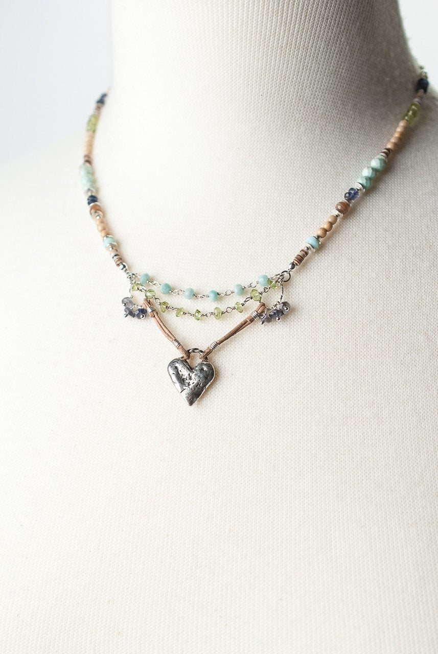 Anne Vaughan Fresh Air Collection - Heart Collage Focal Necklace
