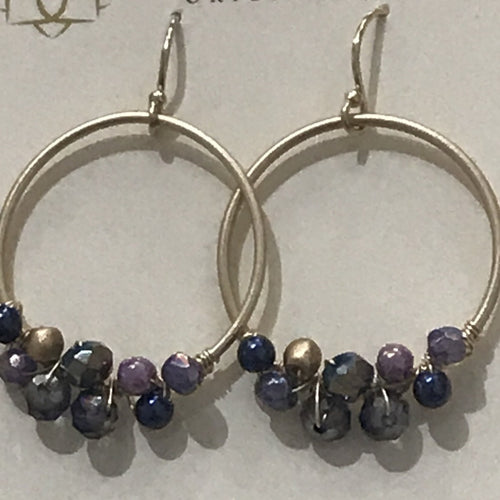 Midnight Crystal, Czech Glass Hoop Earring, gold wire by Anne Vaughan Designs