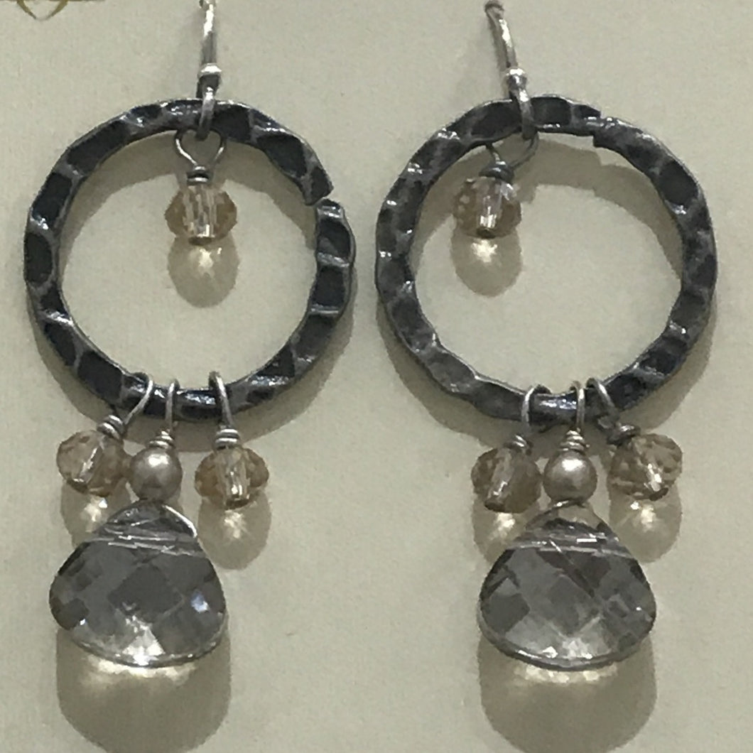 Windsor Castle Collection Hammered Hoop Dangle Crystal Earring by Anne Vaughan Designs