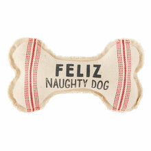 Load image into Gallery viewer, feliz naughty dog canvas bone dog toy by Mud Pie