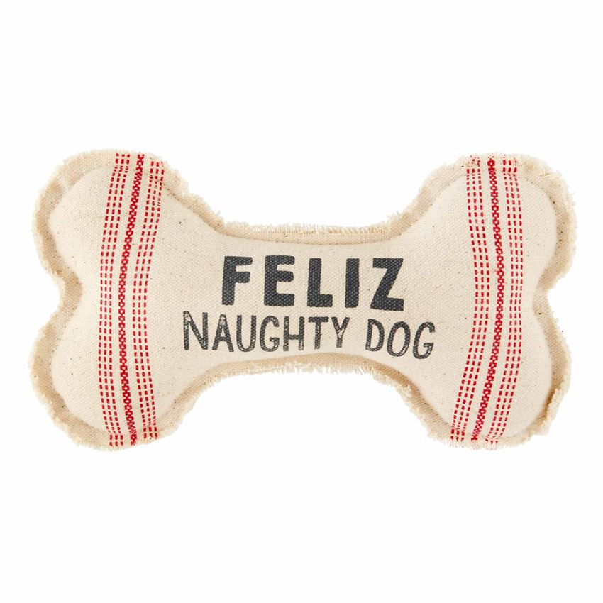 feliz naughty dog canvas bone dog toy by Mud Pie
