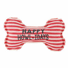 Load image into Gallery viewer, Happy Howl-idays dog canvas bone dog toy by Mud Pie