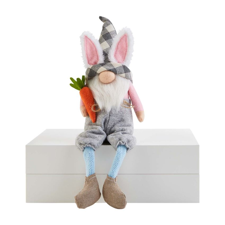 Mud Pie Easter Dangle Leg Gnome -Bunny Ear fur and carrot