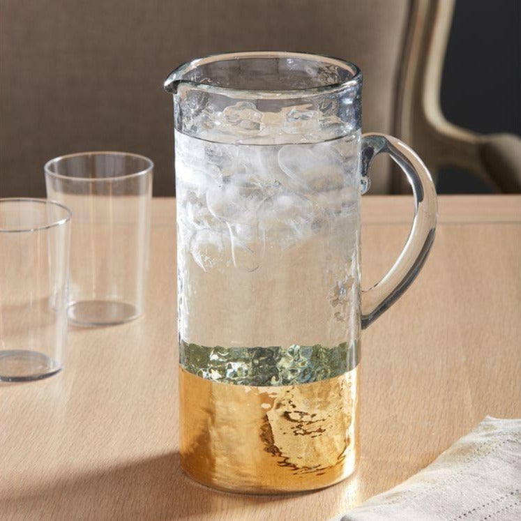 Gold Hammered Glass Pitcher by Mud Pie