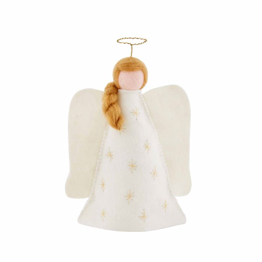 blonde angel tree topper in felt by Mud pie
