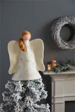 Load image into Gallery viewer, blonde angel tree topper in felt by Mud Pie on tree top