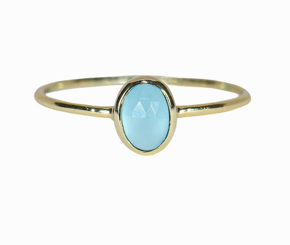 Oval Chalcedony Stone Ring - Gold