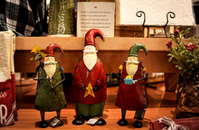 Load image into Gallery viewer, all 3 Vintage Santas shelf sitters by Mud Pie