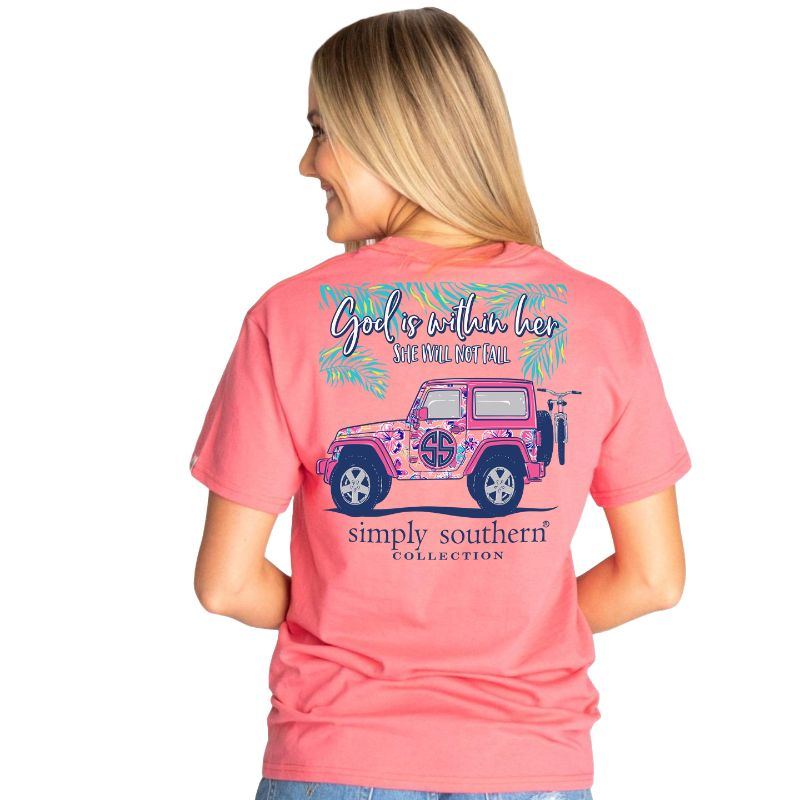 simply southern tee. God is within her in begonia color with a jeep