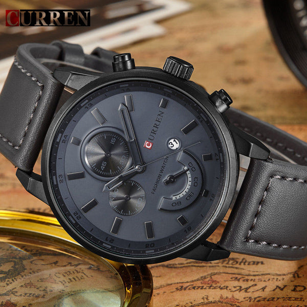 Black Men's Leather Watch