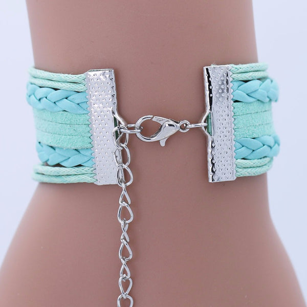 FREE!! Antique Silver Alloy Cuff Charm Leather Bracelet