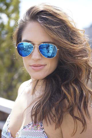 Pau Rio Aviator - Blue Mirror Sunglasses