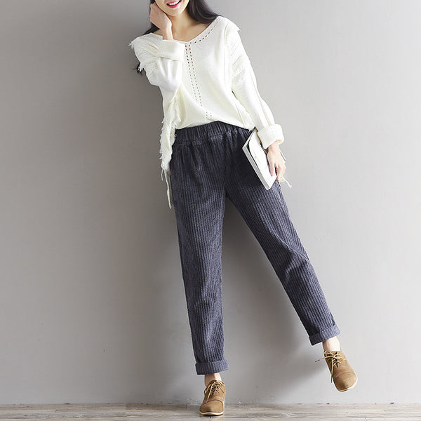 2020 large size women's art Fan Xian thin corduroy pants autumn and winter loose casual trousers - Stardust Hut