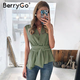 BerryGo Elegant green women tank top shirt Feminina sexy sleeveless office ladies top Casual female work wear summer tops camis - Stardust Hut