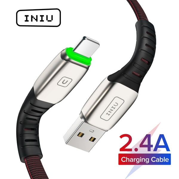 INIU 2m 3A LED USB Cable Charger For iPhone 11 Pro XS MAX XR X 8 7 6S 6 Plus 5 5S Fast Charging Mobile Phone Charge Data Cord