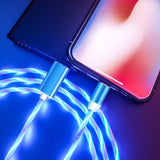 LED Illuminated Flow Micro USB Type C Cable For Samsung S8 Huawei P20 P30 Fast Charging Wire For iPhone Charger Magnetic Cable - Stardust Hut