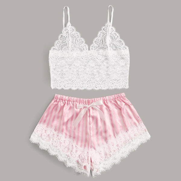 Lace Satin Cami With Striped Shorts Women Pijamas Sexy Sleepwear Set Eyelash 2019 Summer Ladies Shorts Set Nightwear 2 PCS - Stardust Hut