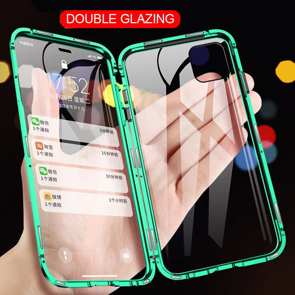 Double Sided Glass Magnetic Adsorption Metal Phone Case For iPhone 11 Pro X XS MAX XR Magnet Cover For iPhone 6 6s 8 7 Plus Case