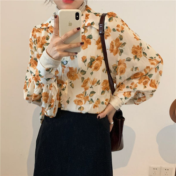 Spring New Women Chiffon print Blouse Shirt Puff Sleeve Female office Shirts Lady Blousa Outfits (yellow One Size) - Stardust Hut