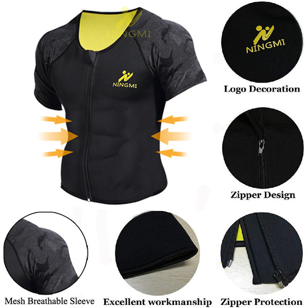 NINGMI Sport Shirt Body Shaper Slimming Waist Trainer Men Tank Top Neoprene Sauna Vest with Zipper Mesh Shapewear Warming Jacket - Stardust Hut