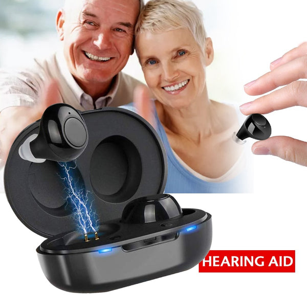 1 Pair USB Rechargeable Mini In Ear Portable Invisible Hearing Aids Assistant Adjustable Tone Sound Amplifier For Deaf Elderly - Stardust Hut