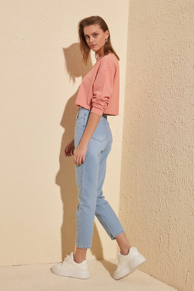 Trendyol Stitch Detail High Bel Mom Jeans TWOSS20JE0086 - Stardust Hut