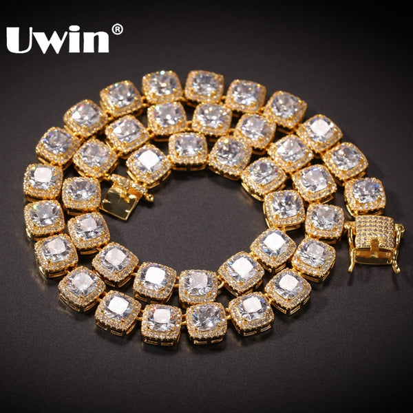 UWIN Square Cubic Zirconia Tennis Chains Top Quality Hiphop Necklace Luxury Full Iced Out CZ Jewelry For Men Women Drop Shipping - Stardust Hut
