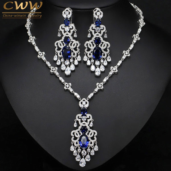 CWWZircons Top Quality Royal Blue Cubic Zirconia African Big Statement Earring Necklace Set For Women Evening Party Jewelry T276 - Stardust Hut