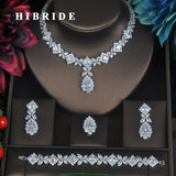 HIBRIDE Clear Crystal Cubic Zirconia Jewelry Sets For Women Bridal Wedding Sets 4 pcs Earring Necklace Ring Bracelet Gift N-315 - Stardust Hut