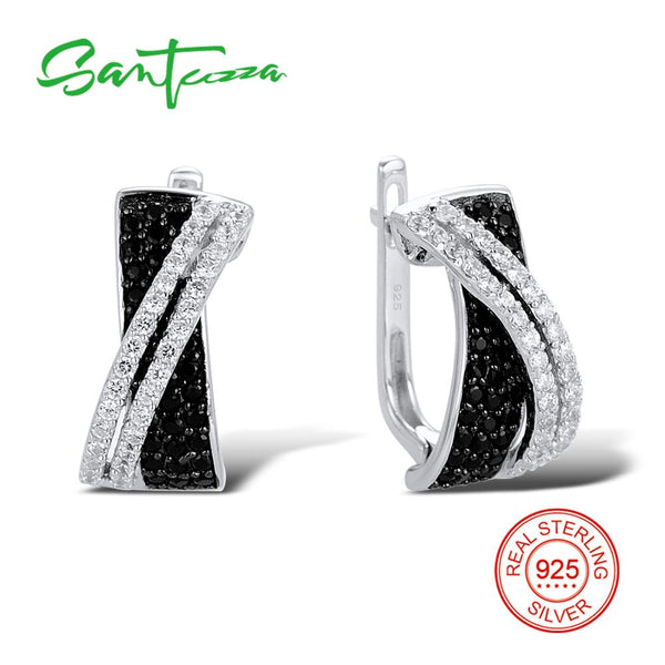 SANTUZZA Silver Earrings For Women 925 Sterling Silver Stud Earrings Silver 925 with Stones Cubic Zirconia brincos Jewelry - Stardust Hut