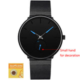 DONROSIN Men Casual Slim Black Mesh Steel Wrist Sport Watch Fashion Mens Watches Top Brand Luxury Quartz Watch Relogio Masculino - Stardust Hut