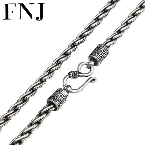 FNJ 4mm Rope Chain Necklaces 925 Silver 45cm to 65cm Fashion Original S925 Thai Silver Women Men Necklace Jewelry Weave
