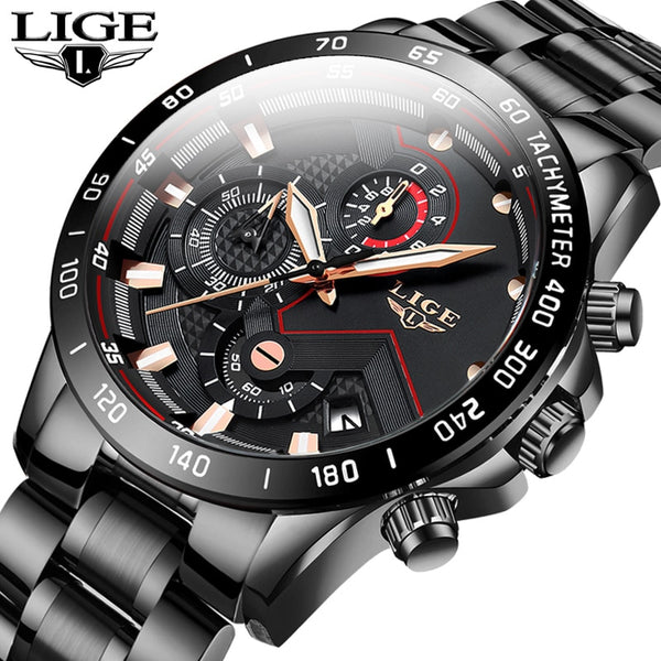 2020 LIGE Fashion Mens Watches Stainless Steel Top Brand Luxury Sport Chronograph Quartz Watch Men Black Watch Relogio Masculino - Stardust Hut