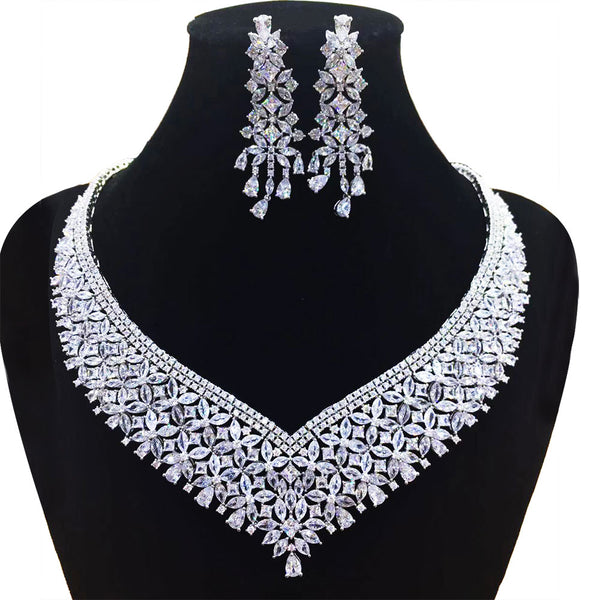 GODKI Trendy Luxury 2PCS Flower Cluster Statement Jewelry Set For Women Wedding Full Cubic Zircon Dubai Bridal jewelry Set 2019 - Stardust Hut