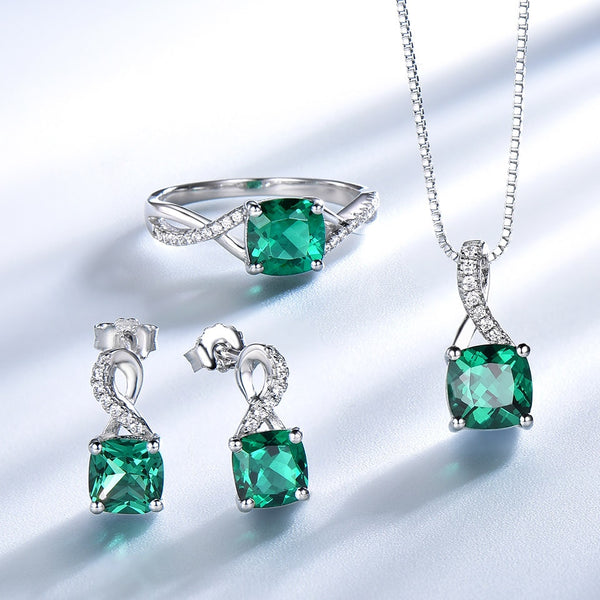 UMCHO 925 Sterling Silver Jewelry Sets For Women Gemstone Emerald Ring Pendant Stud Earrings For Women Wedding Fine Jewelry New - Stardust Hut