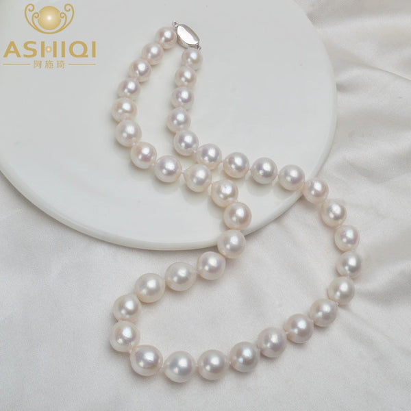 ASHIQI 10-12mm Big Natural Freshwater Pearl Necklace for Women Real 925 Sterling Silver Clasp White Round Pearl Jewelry Gift - Stardust Hut