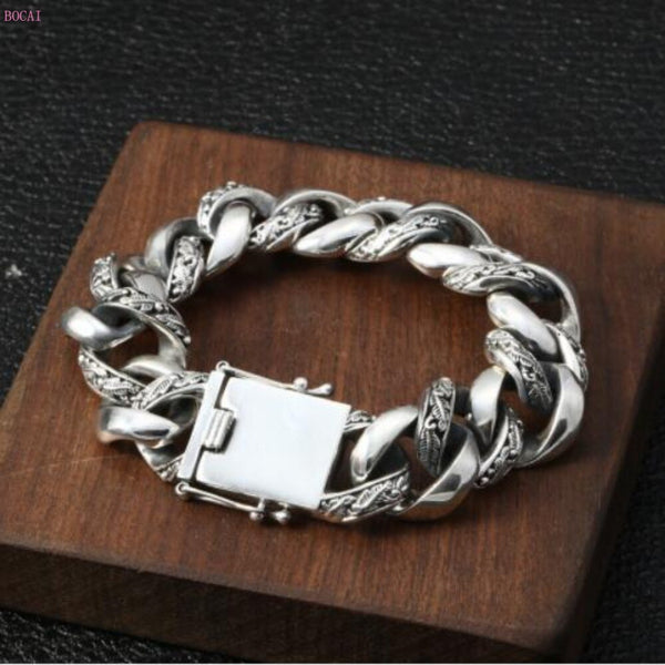 S925 Sterling Silver Fashion hegemony Exaggeration Men's Bracelet Individual Thai Silver Rough Bracelet for men