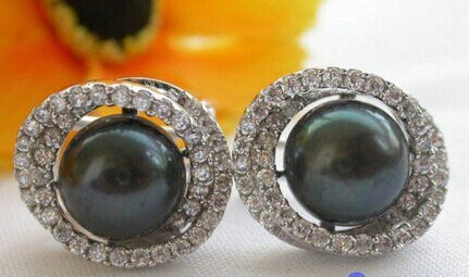 free shipping 13377 AA++ New Style 11MM black PEARL mount SILVER EARRING - Stardust Hut