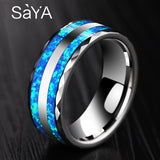 New Arrival Luxurious 8mm Width Tungsten Ring for Wedding inlay Two Pcs Synthetic Blue Opal for Woman Man Comfort Fit 6-12.5 - Stardust Hut