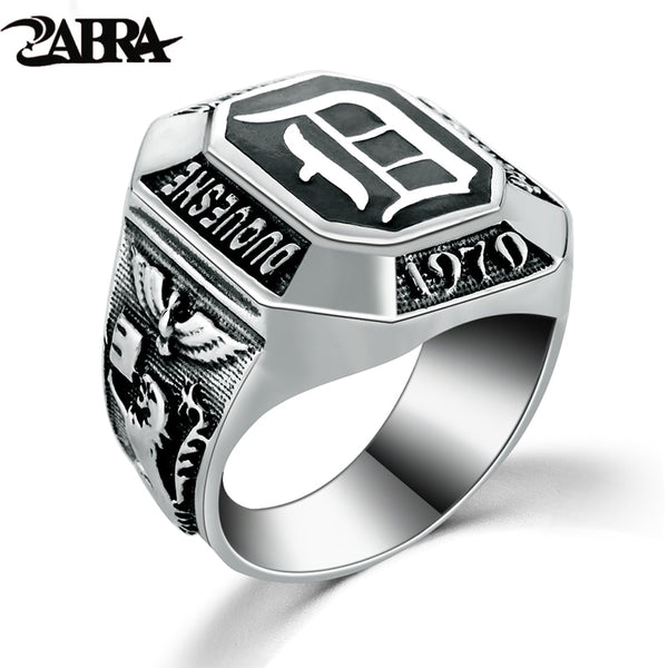 ZABRA Real Silver 925 Mens Signet Ring The Vampire Diaries Rings For Men Black Punk Rock Classic Gift Cool Movies Jewelry