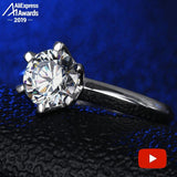 3 Carat Round Cut  1*9.4mm  S925 Sterling Silver Ring SONA Diamond solitaire Fine Ring Unique Style Love Wedding Engagement - Stardust Hut