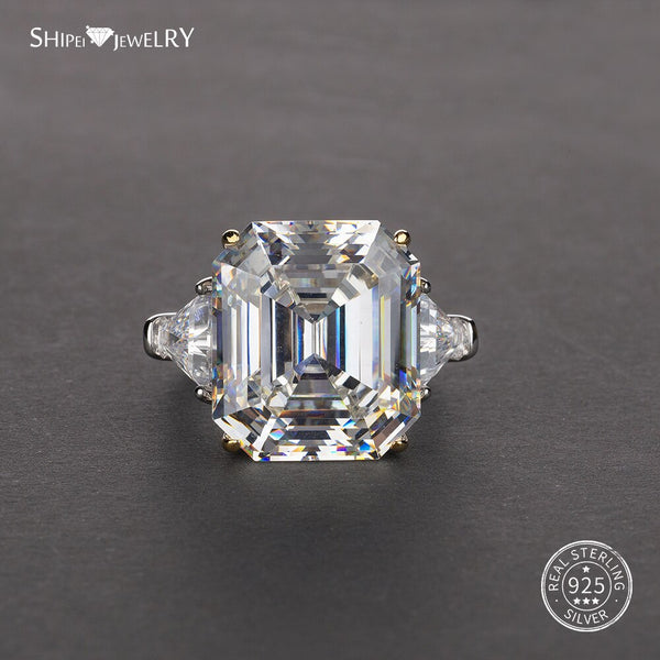 Shipei Asscher Cut Created Moissanite Ring White Gold for Women Men 100% 925 Sterling Silver Ring Engagement Wedding Coctail - Stardust Hut