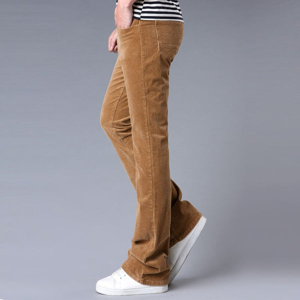 Spring and Autumn Men's jeans Casual Micro Bell-bottomed Corduroy trousers Korean version of the Stretch Slim Wide Leg pants - Stardust Hut