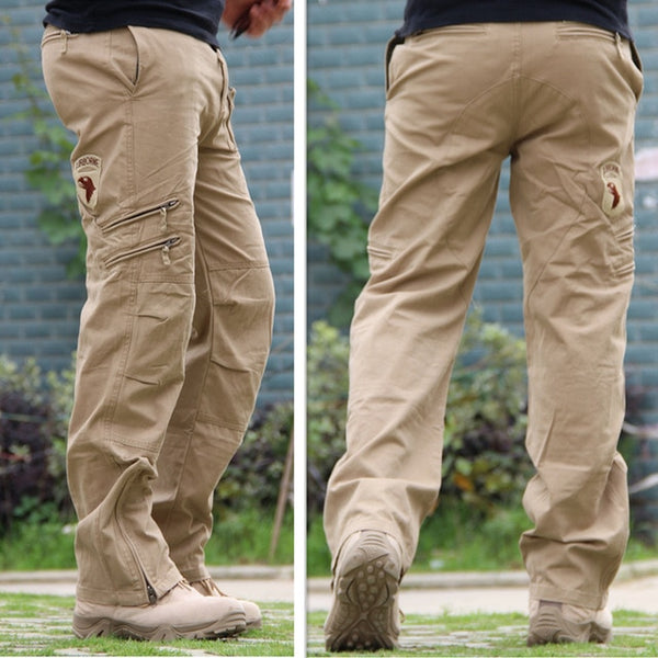 TACTICAL PANTS Airborne Jeans Trouser Male Casual Plus Size Cotton baggy Pocket MILITARY Style Army Camouflage CARGO PANTS Men - Stardust Hut