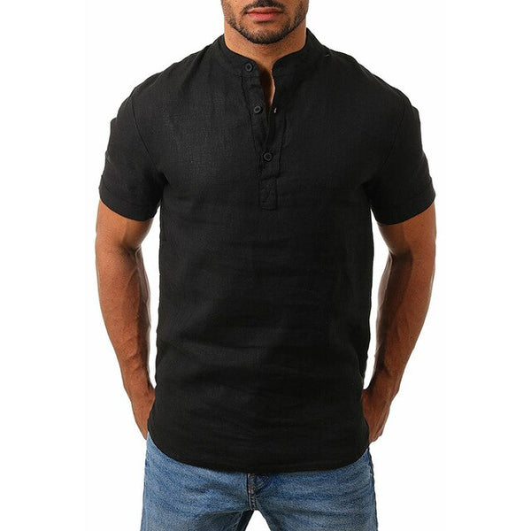 Mens Cotton Linen Solid Slim Fit Shirts Man Stand Collar Short Sleeve Shirt Summer Male Plus Size Muscle Shirts Top Four Color - Stardust Hut