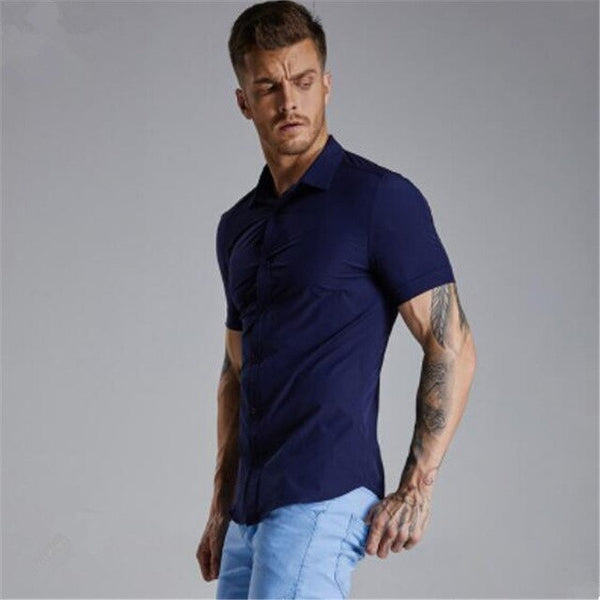 Muscle short sleeve fit man fitness running training shirt slim body high stretch quick dry shirt sport shirt newNO LOGO рубашка - Stardust Hut