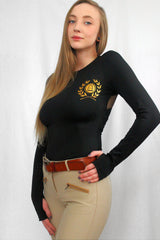 Hacks & Hills Long Sleeve Equestrian T with mesh back in black with gold accents