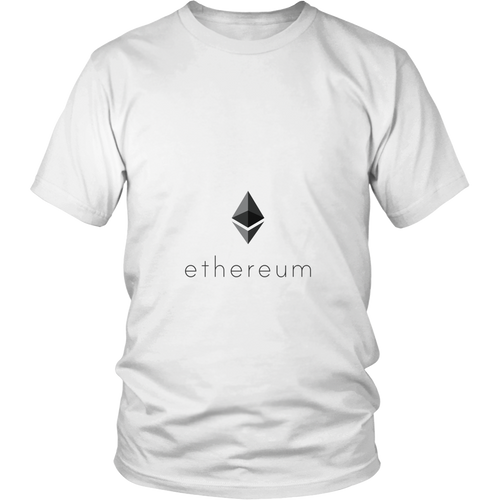 Ethereum T-Shirt - Official Ethereum Logo and Name - Shirts to show your support for Ether, Bitcoin, or your favorite Cryptocurrency.