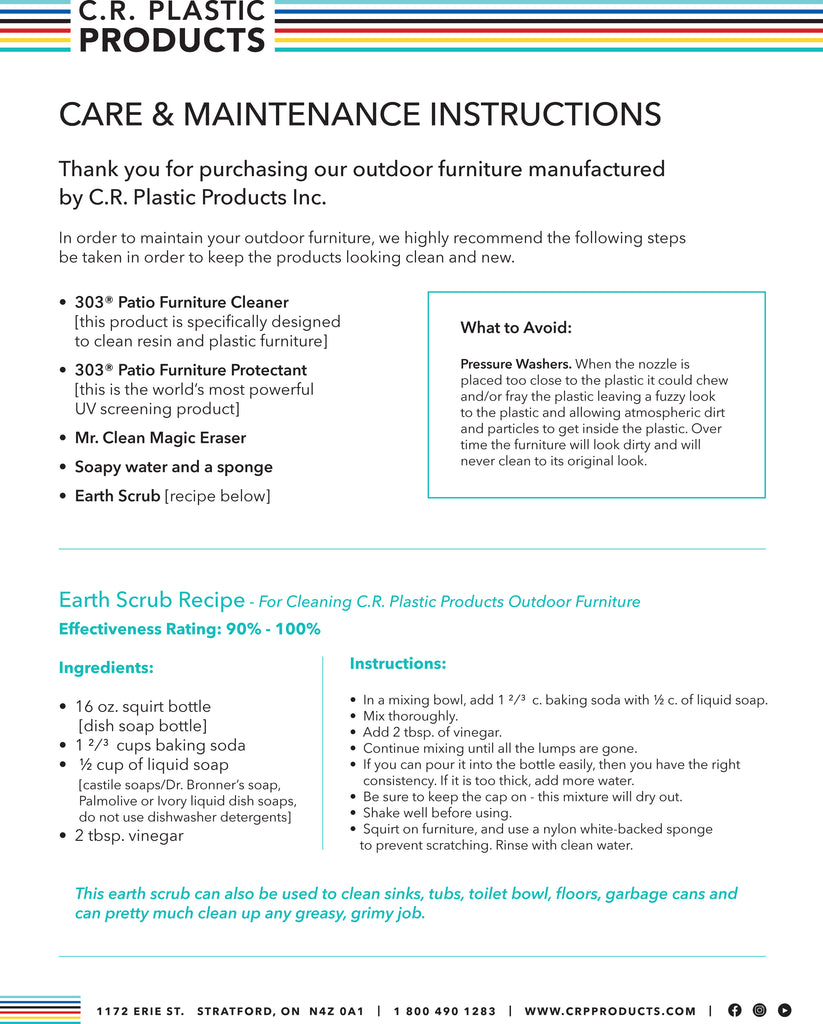 C.R. Plastic Products Care and Maintenance Instructions